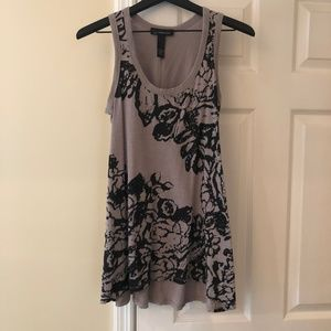 INC tank with taupe with black printing and sequin